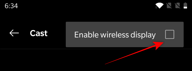 Click on 'Enable Wireless Display'